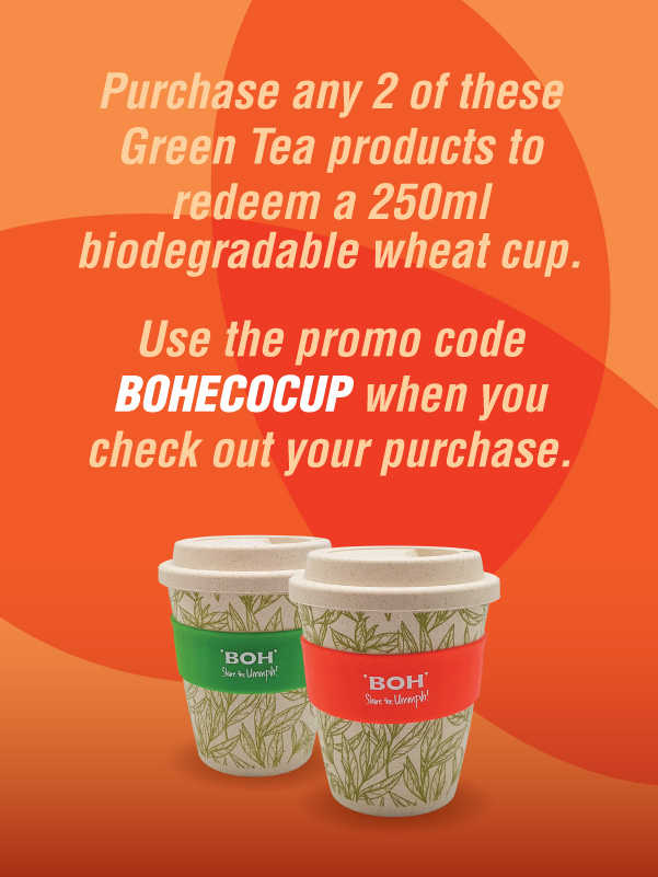 Purchase any 2 of BOH Jasmine and Pure Green Tea to redeem a biodegradable wheat mug.